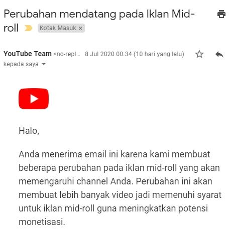Kebijakan Youtube untuk jeda iklan midroll terbaru