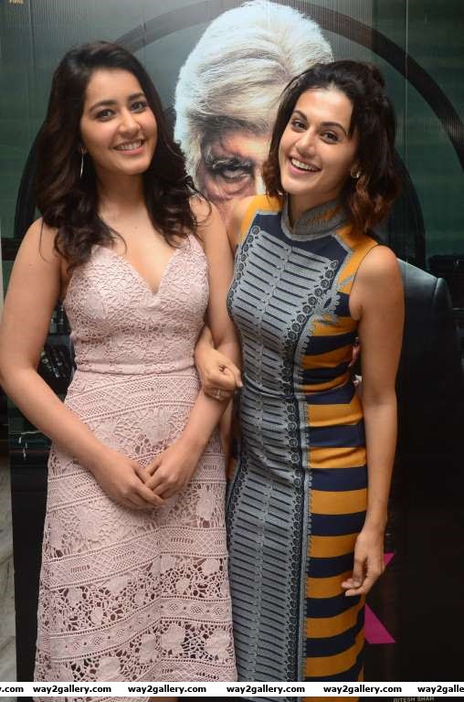 Raashi Khanna and Taapsee Pannu pose for photographers upon arrival at the special screening of Pink in Hyderabad