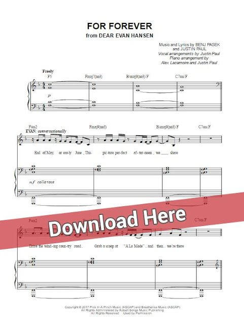 dear evan hansen, for forever, sheet music, piano notes, chords, transpose, composition, klavier noten, akkorden, how to play, tutorial