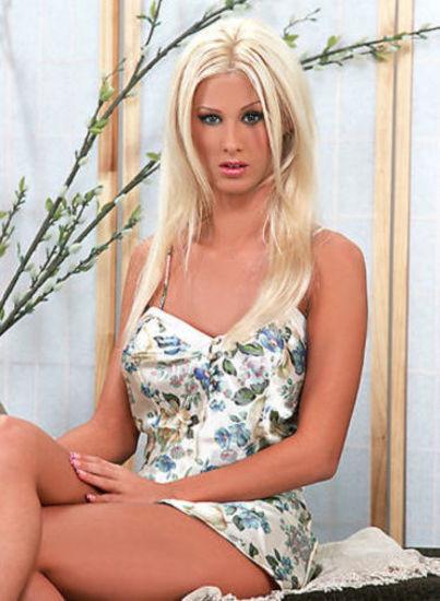 blonde in mini dress