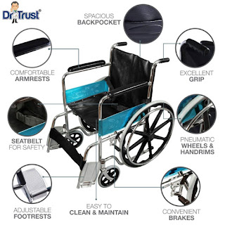 Dr Trust (USA) Premium Quality Portable Foldable Manual Wheelchair for Pain Relief (Gray)