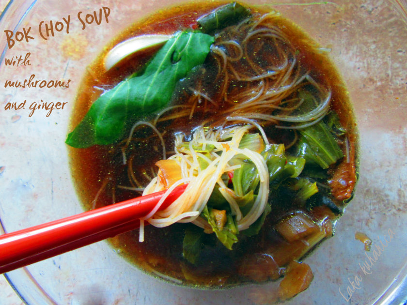 Bok choy soup with mushrooms and ginger by Laka kuharica: hot, savory and packed with umami flavor.