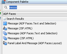select af:message from component pallette