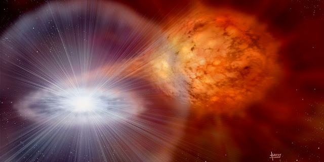 An artist's rendering of an exploding star. Illustration by David T Hardy, Artist