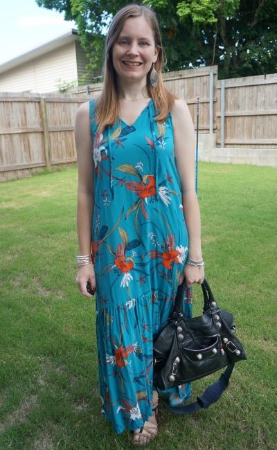 Kmart tropical notch neck floral maxi dress with black Balenciaga part time summer mum outfit | awayfromtheblue
