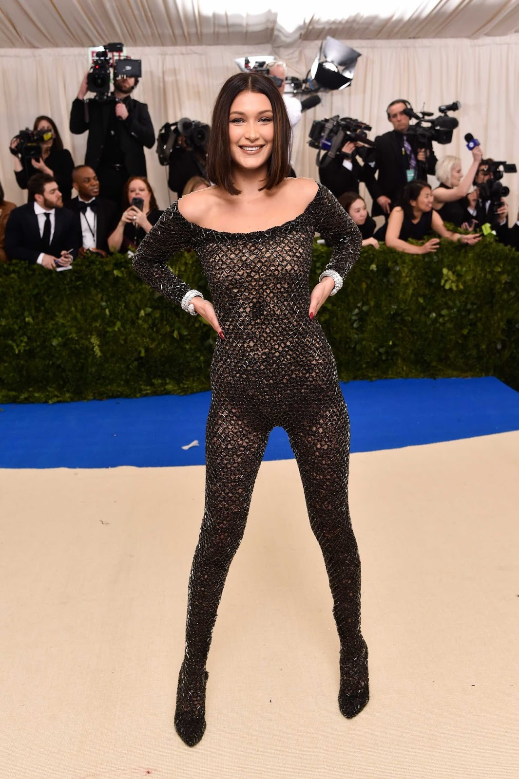 Bella Hadid arrives at the 2017 Met Gala in sexy catsuit