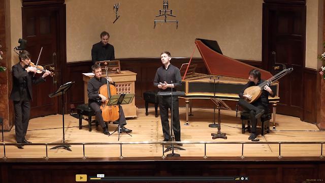 Handel: Nine German Arias - Iestyn Davies, Arcangelo (Matthew Truscott, Jonathan Cohen, Jonathan Manson, Thomas Dunford - Wigmore Hall (image taken from live-stream)