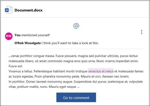 مثال على البريد الإلكتروني لتنبيه التعليق.