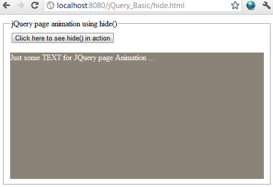 jQuery hide effect example