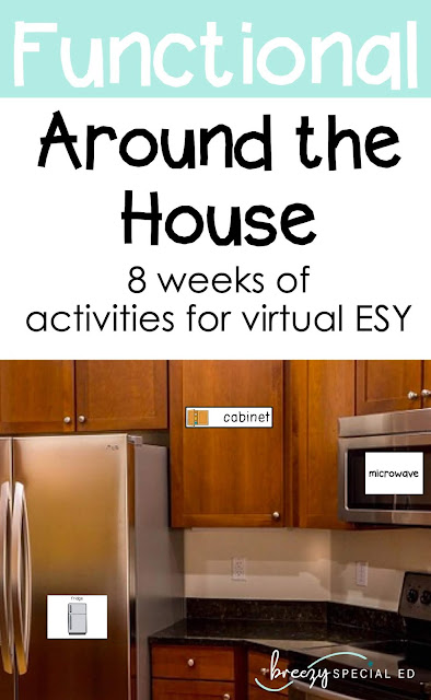 Looking for ideas for your virtual ESY? Extended School Year while distance learning is a perfect time to work on real life vocabulary around the house!