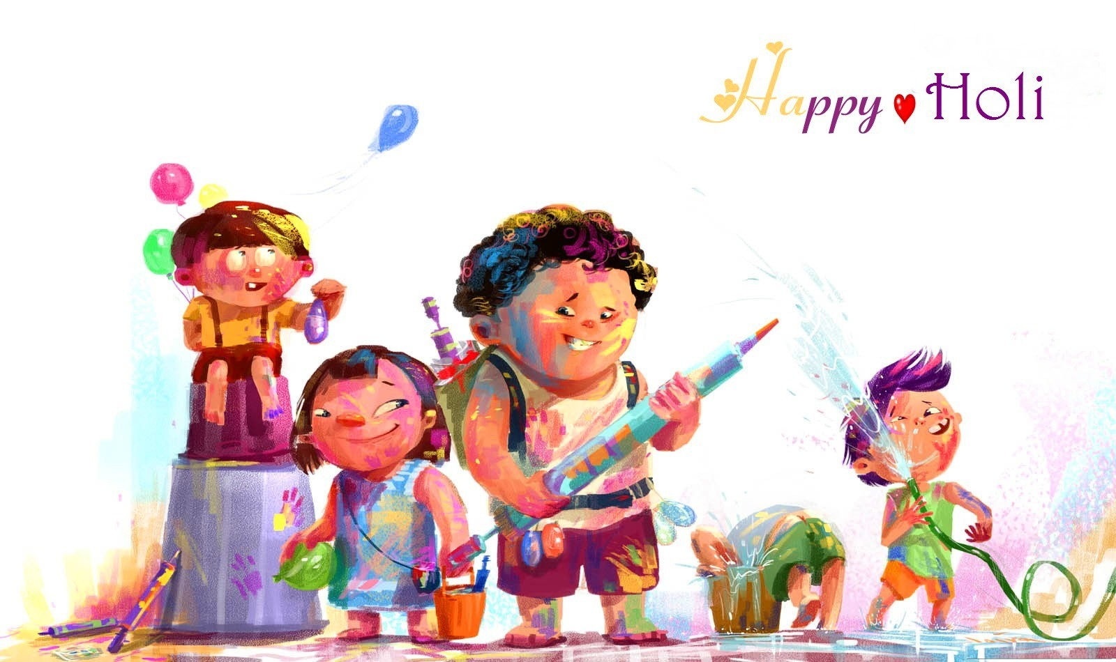 images of holi festival in cartoon - Cartoon For Kids Download