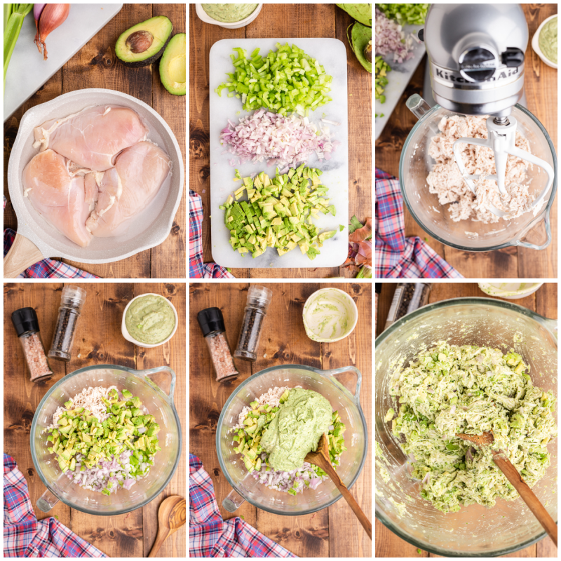 Six photos of the process of making Keto Avocado Ranch Chicken Salad.