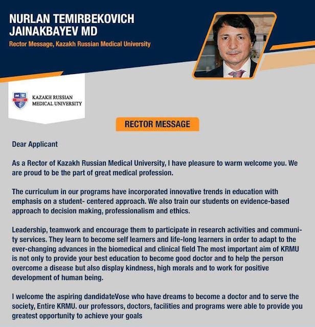 Rector Message About Kazakh-Russian Medical University, Almaty Kazakhstan