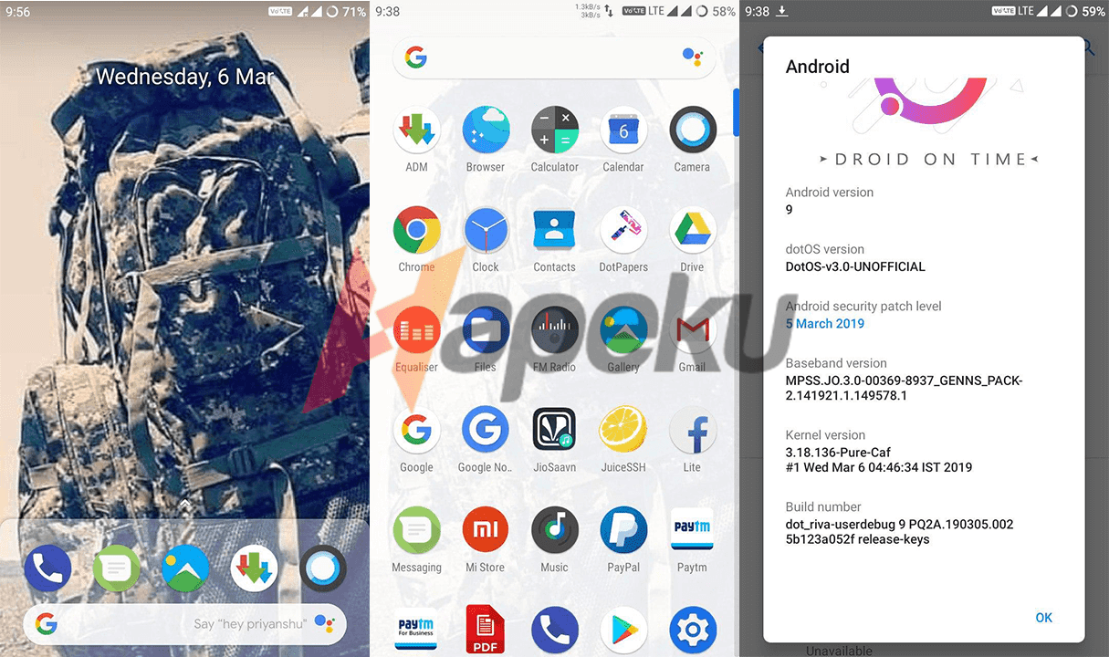 Screenshot ROM DotOS Pie Xiaomi Redmi 5A