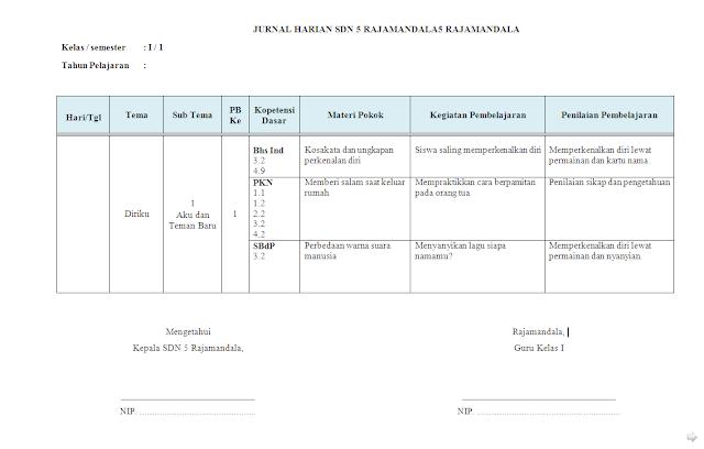 Jurnal Harian Kelas 1 Tema 5 SD/MI