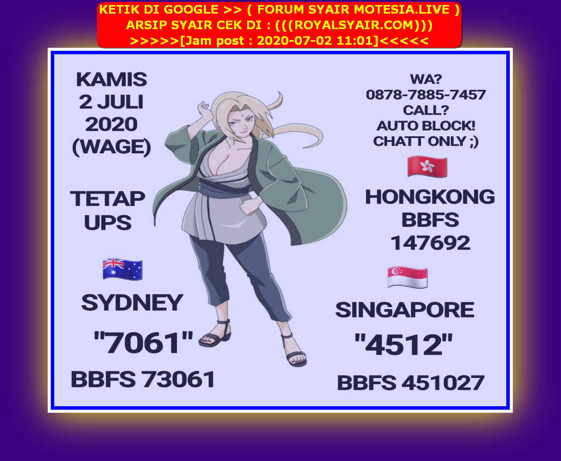 Kode syair Sydney Kamis 2 Juli 2020 15