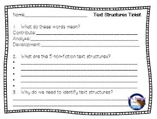 Entrance/Exit tickets for a test prep non-fiction text structures lesson!