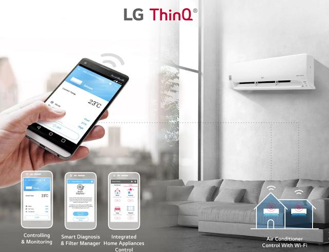 Keunggulan LG Inverter Dual Cool Series : aplikasi ThinQ app