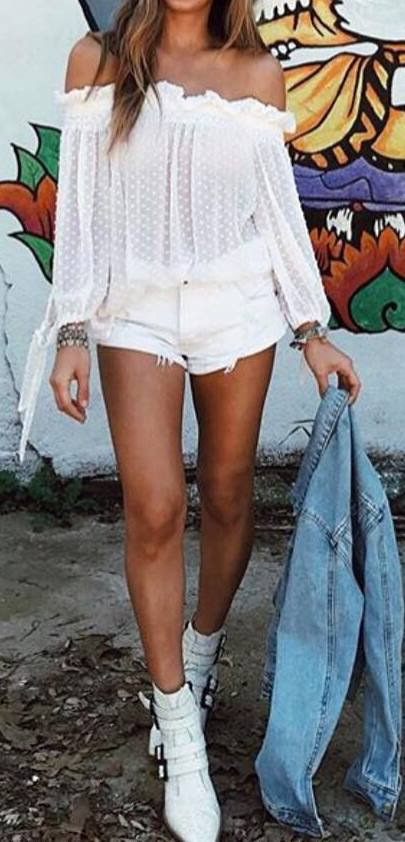 cool gypsy style: blouse + white shorts + denim jacket