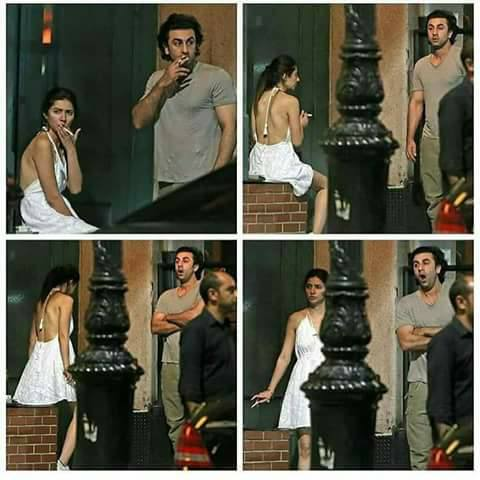 images of  Mahira khan and ranbir kapoorsmoking in the street of new york went viral news,Mahira khan and ranbir kapoor last seen together during global teaching prize gala in dubai.