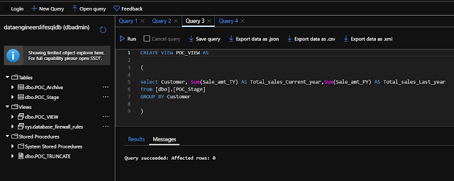 Table and View creation in Azure Query Editor