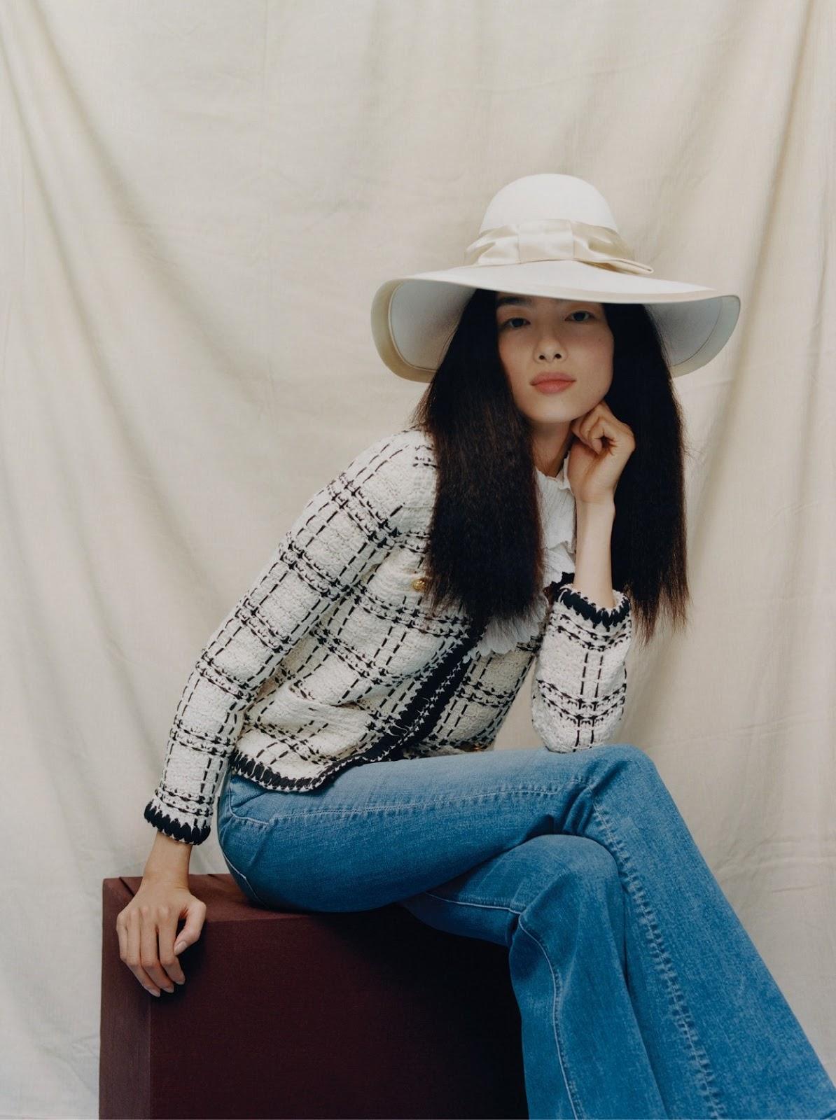 Fei Fei Sun - Tory Burch cardigan. Mother jeans. Gucci hat