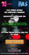 210 Free Spins no Deposit Sign-up Bonus - 21 Casino