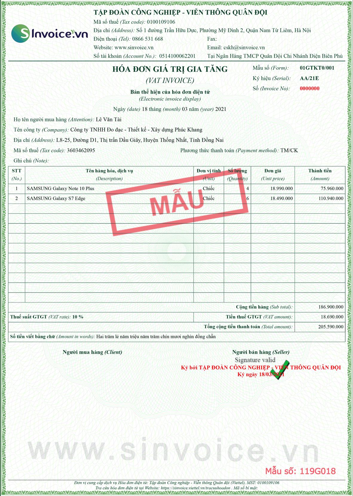 Mẫu hóa đơn điện tử số 119G018