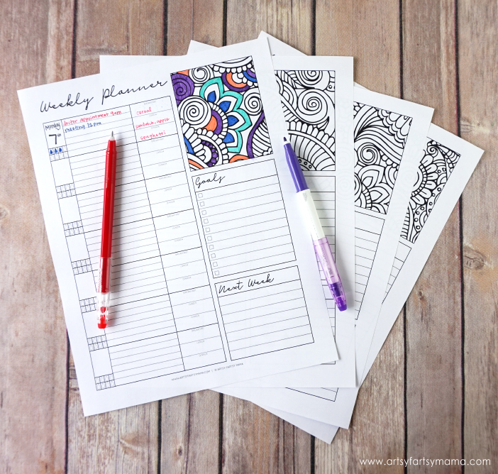 Free Printable Coloring Weekly Planner