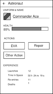 Screen with name, actions, and stats for an astronaut