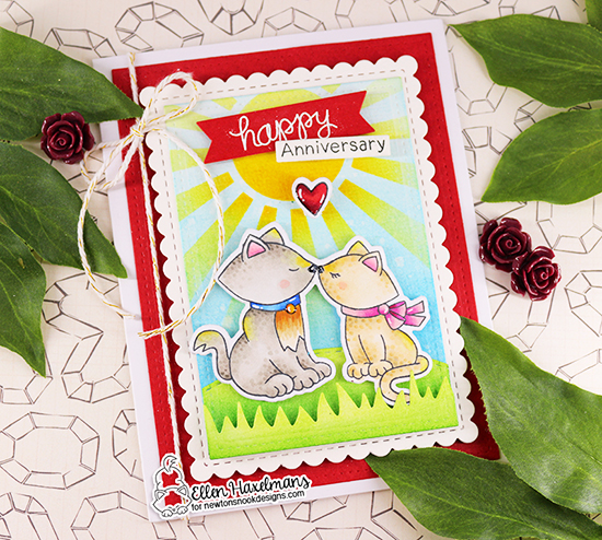 Happy Anniversary Cuddles Card by Ellen Haxelmans | Newton's Christmas Cuddles Stamp Set, Newton Celebrates Stamp Set, Sunscape Stencil and Framework Die Set by Newton's Nook Designs #newtonsnook #handmade