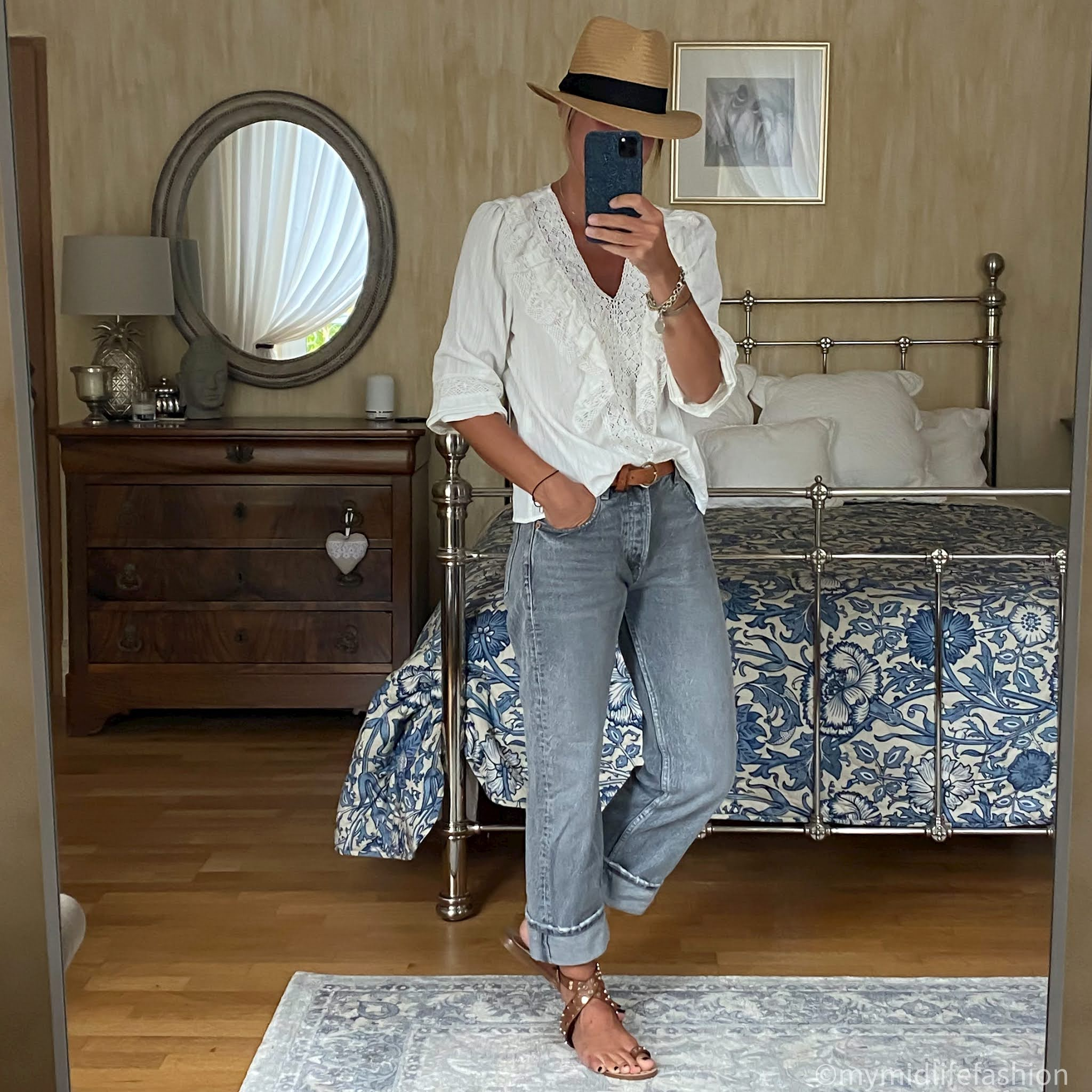 my midlife fashion, zara low rise straight leg jeans, zara embroidered white blouse, h and m Panama hat, Massimo Dutti leather belt, basalt studded leather sandals