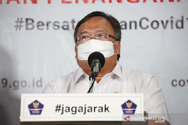 Menristek/Kepala BRIN Bambang Brodjonegoro saat memberikan keterangan di kantor Graha BNPB Jakarta, Senin 6 April 2020. (ANTARA/Humas BNPB)