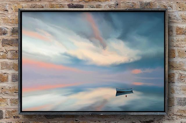 Adrift on Still Waters, art by Mark Taylor, serene art, landscape art, beechhouse Media, Fine Art America,