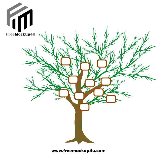 Cartoon Big Tree Photo Frame Premium PSD