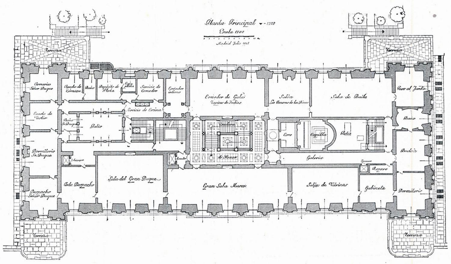 The devoted classicist palacio de liria the madrid for Manor floor plans