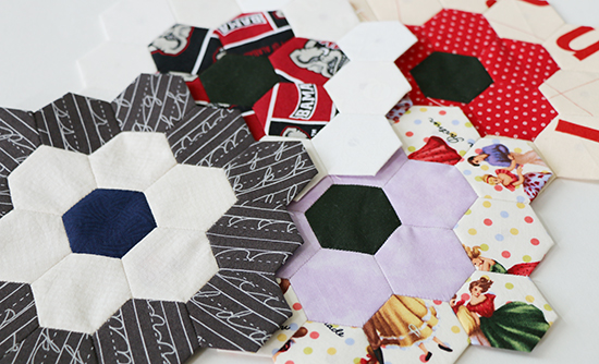 Four Overlapping EPP Hexagon Blocks