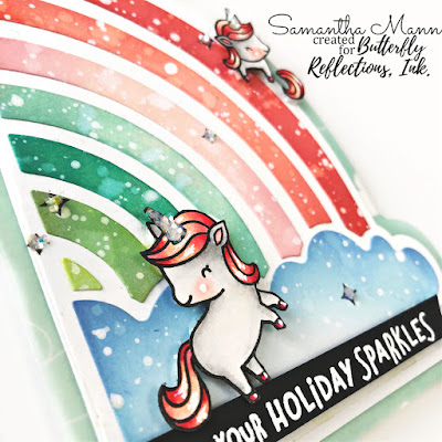 Sending Sparkly Christmas Wishes Card by Samantha Mann, Butterfly Reflections Ink, Christmas, Christmas Card, Unicorn, Avery Elle, Lawn Fawn #averyelle #lawnfawn #distressinks #distressoxide #christmas #cards