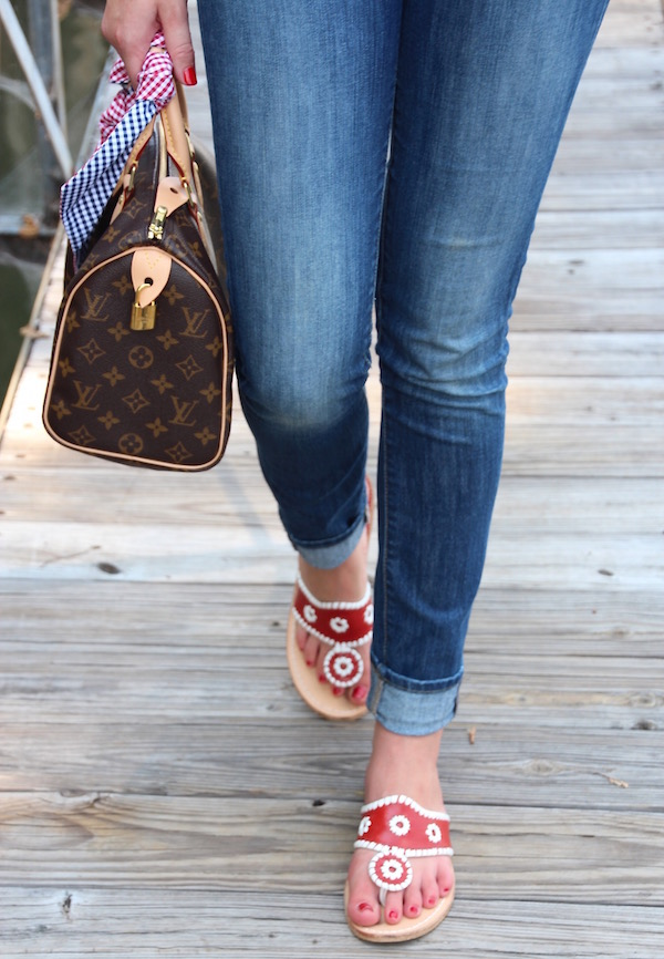 Gimme Glamour. Louis Vuitton Speedy 25, gingham scarf, red and white Jack Rogers