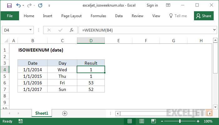 صيغ وشرح استخدام الدالة ISOWEEKNUM في برنامج Microsoft Excel