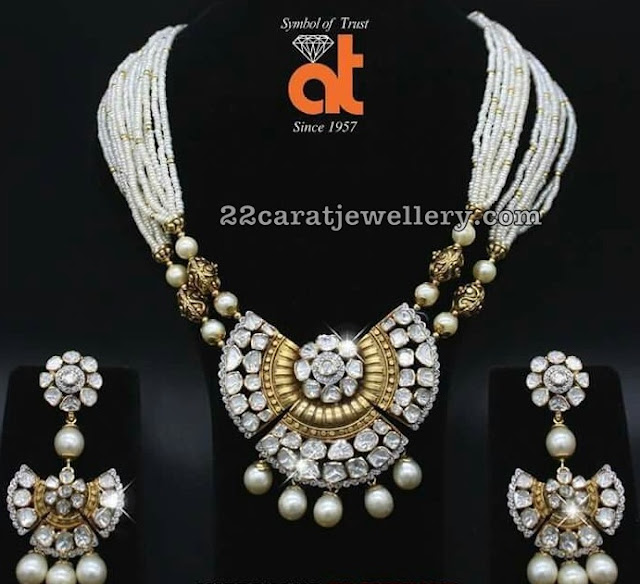 Pearls Necklaces with Polki Earrings