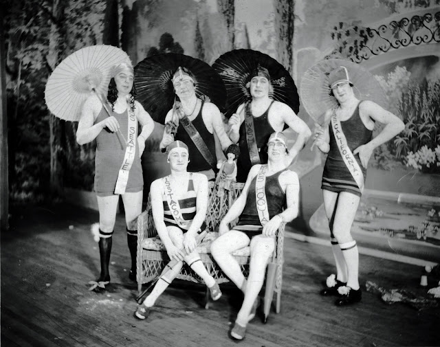 The 1929 installment of the Kiwanis Follies in Washington State featured these lovely femulators competing in a beauty pageant.