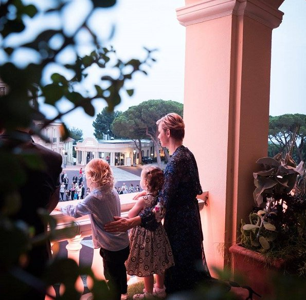 Princess Charlene, Princess Gabriella and Prince Jacques watched the traditional celebrations of St. John's Day procession at Palace Square in Monaco
