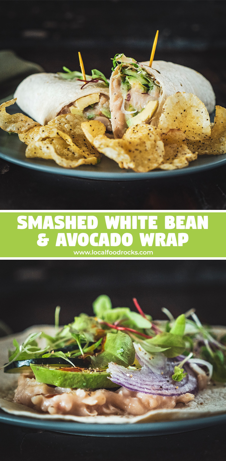 This smashed white bean and avocado wrap is a crunchy, fresh vegetarian lunch option to keep you satisfied and ready to power through the work day. | Local Food Rocks