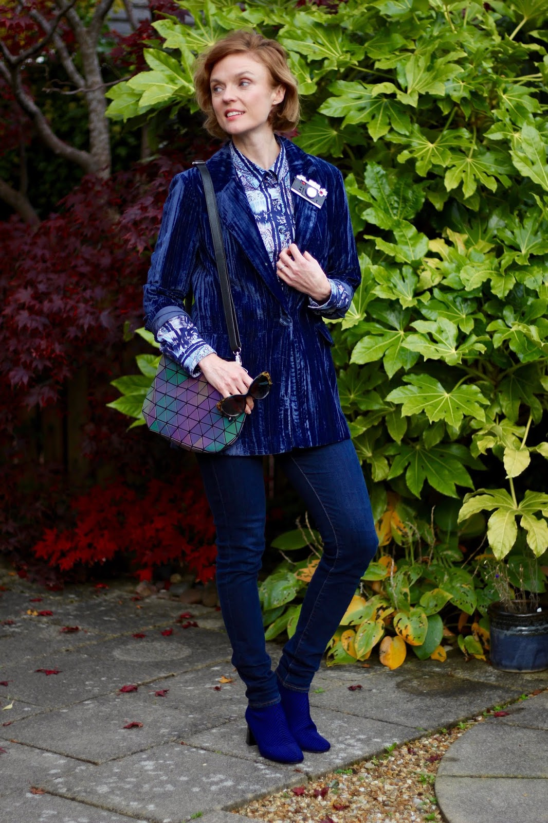 Blue Velvet Blazer as Daywear | Autumn Outfit | Fake Fabulous