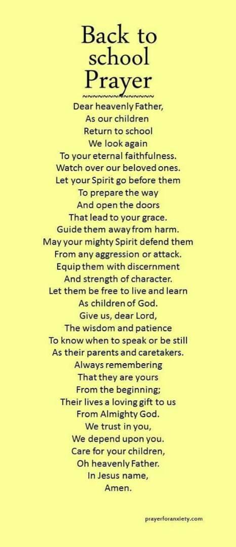 Christian Prayer For Blessings Kids Going Back To School