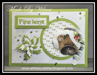 Een groen met wit kerstkaartje met een 3d-plaatje van Marieke's Design
