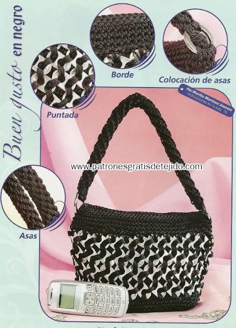 bolso tejido con anillas y crochet
