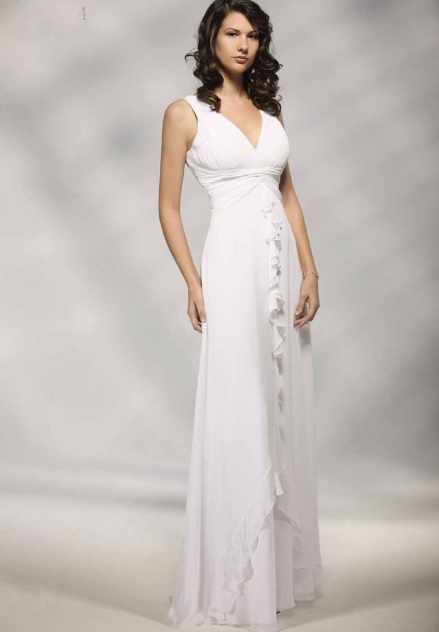 1879398cf simple v neck white long gown – Fashion dresses