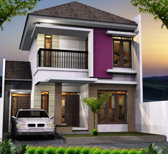 Rumah minimalis 2 lantai atap limasan dengan nuansa ungu sejuk